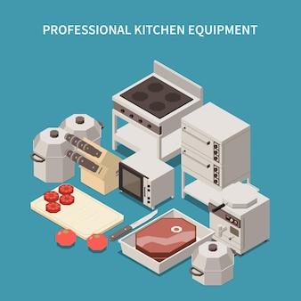 Ilustração isométrica de aparelhos de cozinha profissional com forno de micro-ondas, torradeira, equipamento de café da manhã, facas de chef