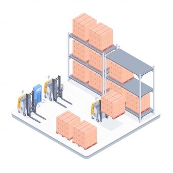 Ilustração isométrica de armazém inteligente