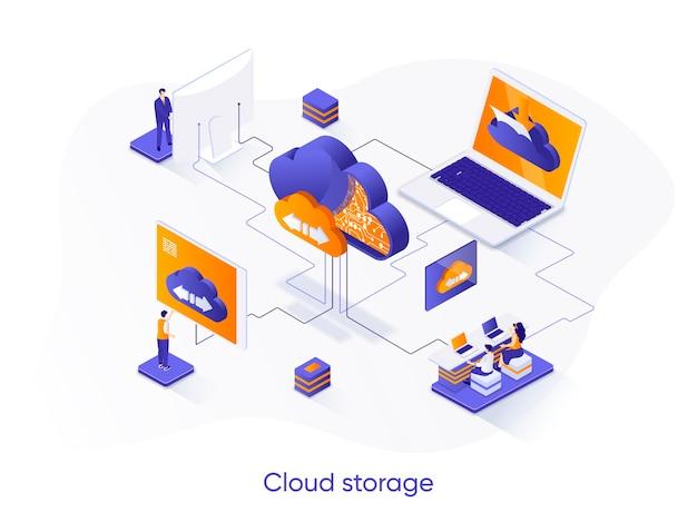 Ilustração isométrica de armazenamento em nuvem com personagens de pessoas