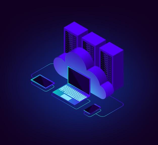 Ilustração isométrica de armazenamento em nuvem
