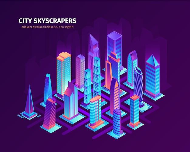 Ilustração isométrica de arranha-céus da cidade