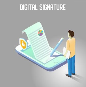Ilustração isométrica de assinatura digital