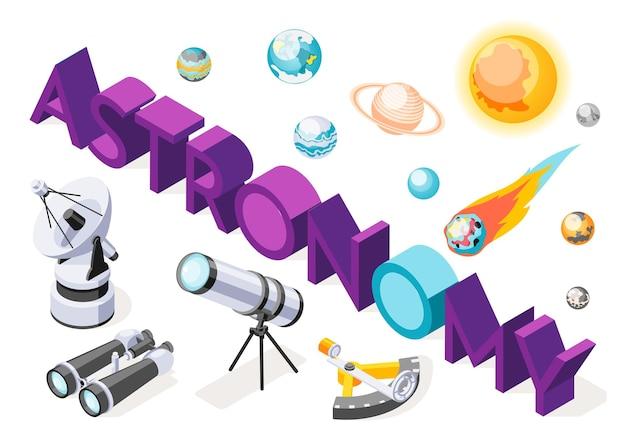 Ilustração isométrica de astronomia