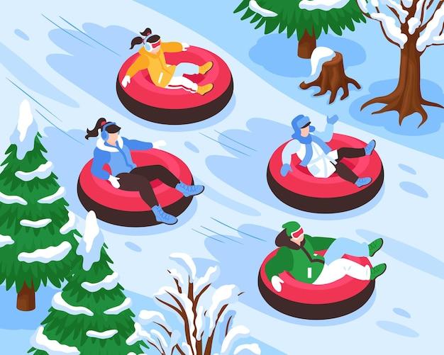 Ilustração isométrica de atividades ao ar livre de inverno