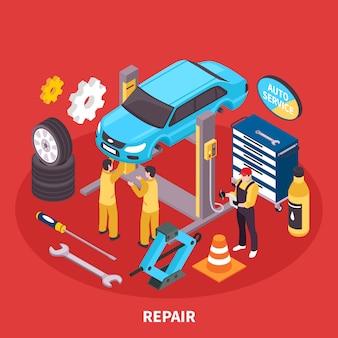 Ilustração isométrica de auto serviço