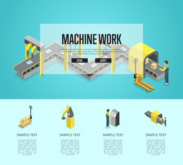 Ilustração isométrica de automação de fábrica e máquinas