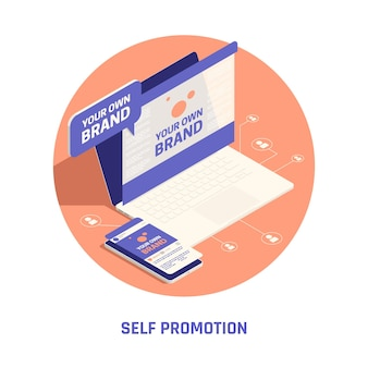 Ilustração isométrica de autopromoção