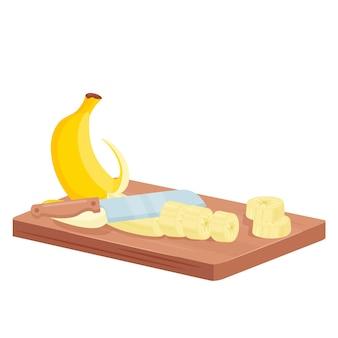 Ilustração isométrica de banana cortada