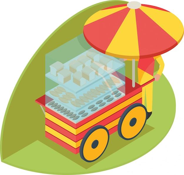 Ilustração isométrica de banca de pão