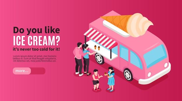 Ilustração isométrica de banner horizontal de sorvete