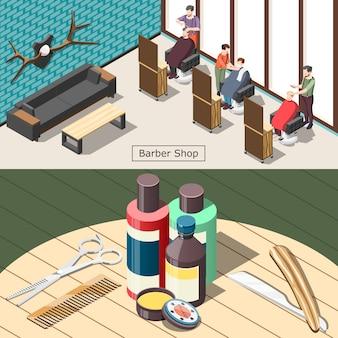 Ilustração isométrica de barbearia