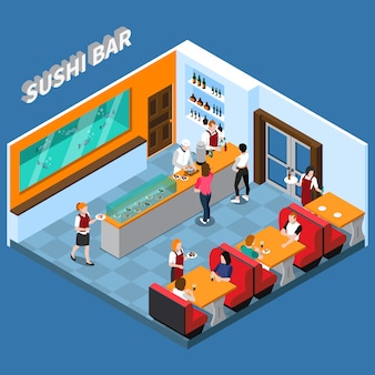 Ilustração isométrica de barra de sushi
