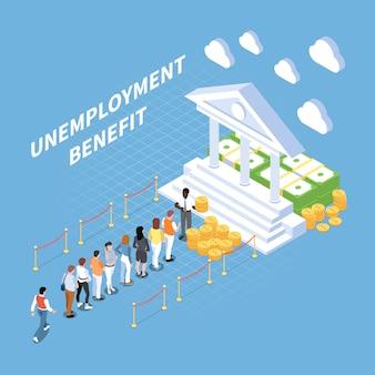 Ilustração isométrica de benefício de segurança social