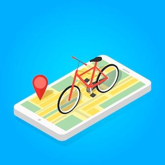 Ilustração isométrica de bicicleta de mapa de telefone.