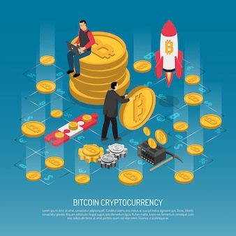 Ilustração isométrica de bitcoin cryptocurrency technology
