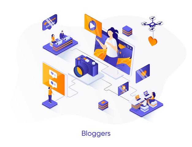 Ilustração isométrica de blogueiros com personagens de pessoas
