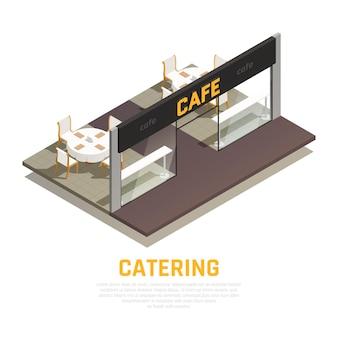 Ilustração isométrica de café de luxo