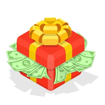 Ilustração isométrica de caixa de presente com dinheiro.
