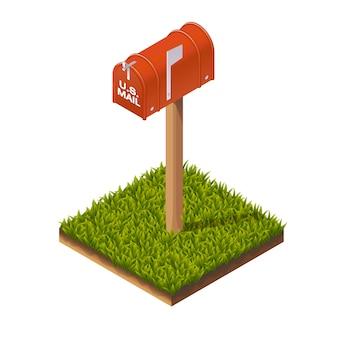 Ilustração isométrica de caixa postal