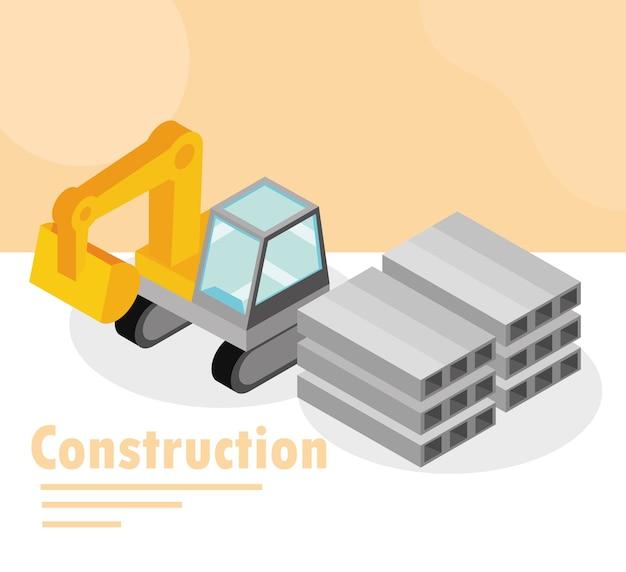 Ilustração isométrica de caminhão escavadeira de construção e placas de aço inoxidável