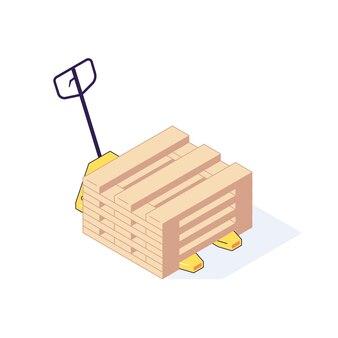 Ilustração isométrica de carga de equipamento de paletes de transporte de armazém