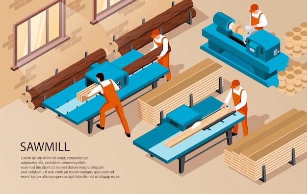 Ilustração isométrica de carpintaria serraria com texto e trabalhadores internos dentro da instalação de produção
