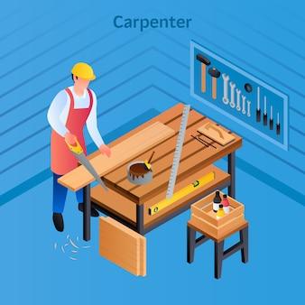 Ilustração isométrica de carpinteiro