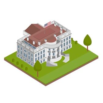 Ilustração isométrica de casa branca