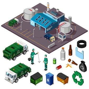 Ilustração isométrica de centro de reciclagem