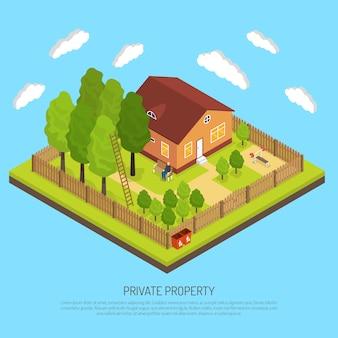 Ilustração isométrica de cercas de limite de propriedade privada