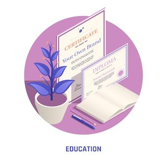 Ilustração isométrica de certificado e diploma de educação