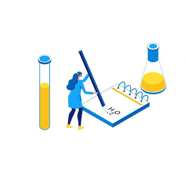 Ilustração isométrica de chemisrty, laboratório