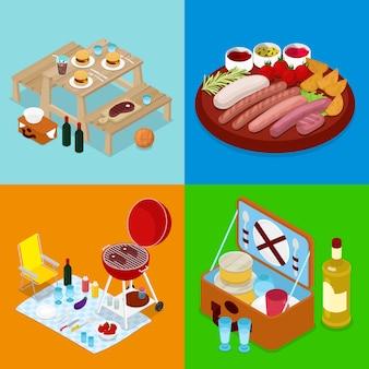 Ilustração isométrica de churrasco piquenique comida