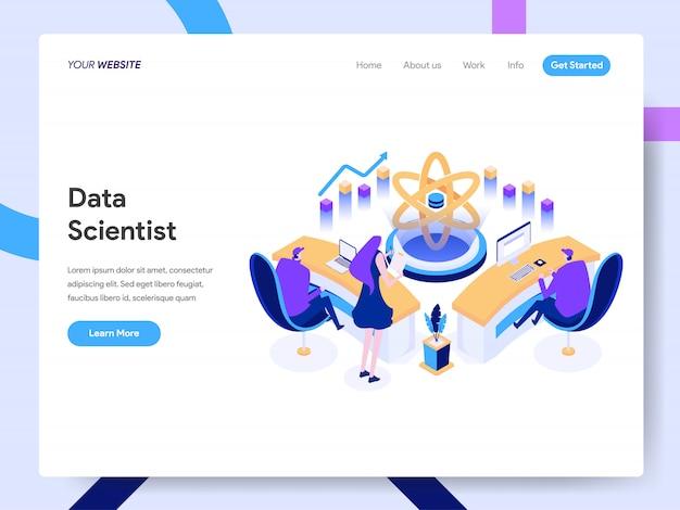 Ilustração isométrica de cientista de dados para a página do site