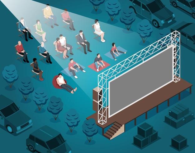 Ilustração isométrica de cinema ao ar livre