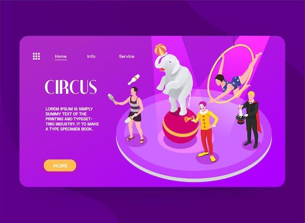 Ilustração isométrica de circo para modelo da web com informações do programa e serviço