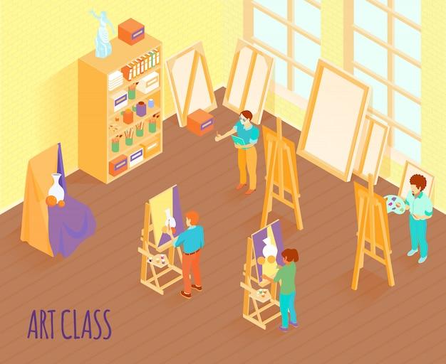 Ilustração isométrica de classe de arte