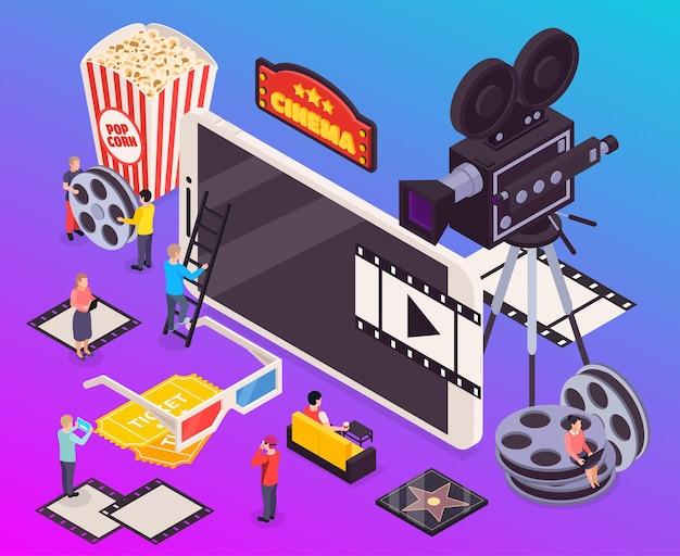 Ilustração isométrica de composição de cinema
