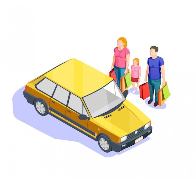 Ilustração isométrica de compras de pessoas