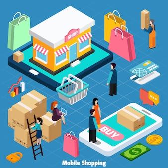 Ilustração isométrica de compras móveis
