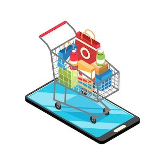 Ilustração isométrica de compras online com carrinho cheio de mercadorias no smartphone 3d