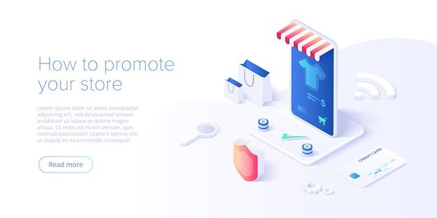 Ilustração isométrica de compras online ou comércio eletrônico