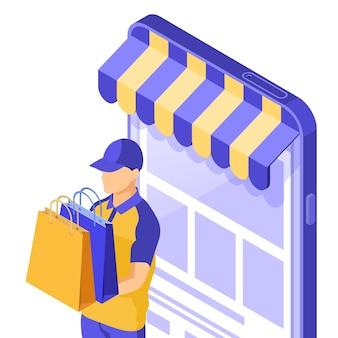 Ilustração isométrica de compras online