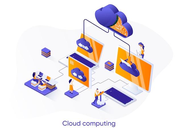 Ilustração isométrica de computação em nuvem com personagens de pessoas