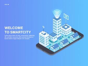 Ilustração isométrica de conceito de cidade inteligente