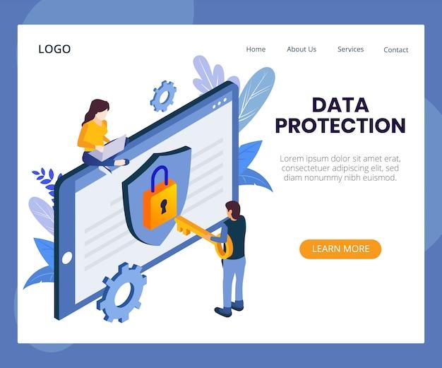 Ilustração isométrica de conceito de proteção de dados