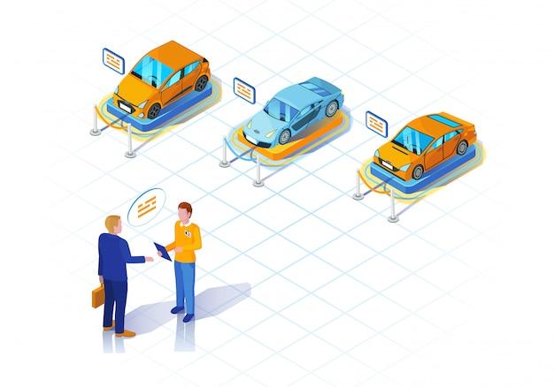 Ilustração isométrica de concessionária de carros