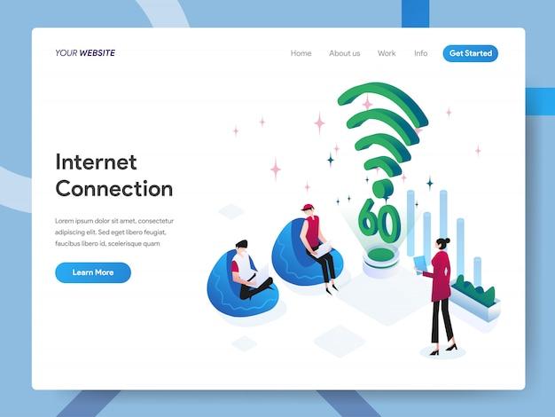 Ilustração isométrica de conexão com a internet para a página do site