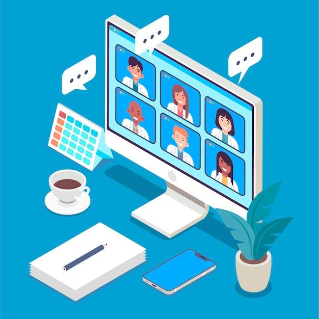 Ilustração isométrica de conferência médica online
