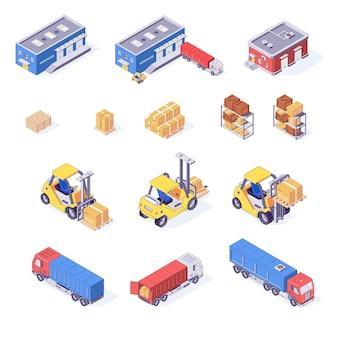 Ilustração isométrica de conjunto de caixas, paletes, mercadorias, caminhões, empilhadeiras, armazém, ilustração